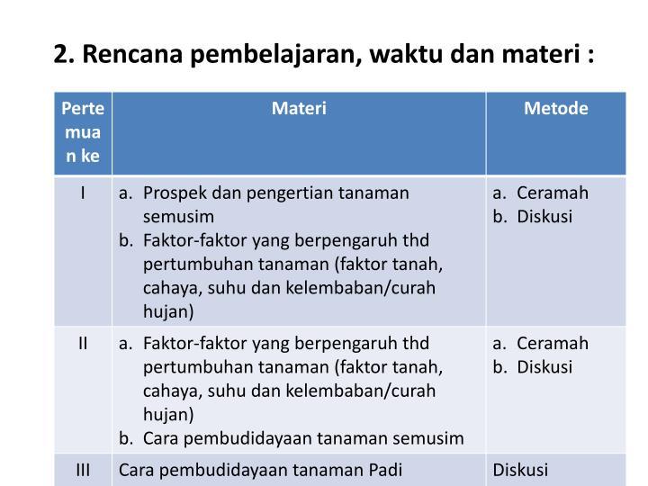 2. Rencana pembelajaran, waktu dan materi :