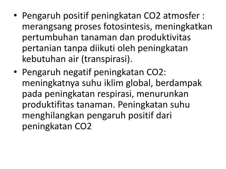 Pengaruh positif peningkatan CO2 atmosfer : merangsang proses fotosintesis, meningkatkan pertumbuhan tanaman dan produktivitas pertanian tanpa diikuti oleh peningkatan kebutuhan air (transpirasi).