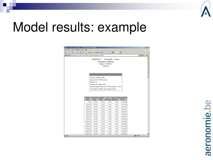 Model results: example