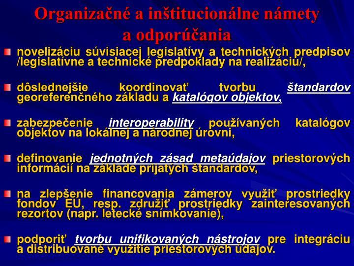 Organizačné a inštitucionálne námety aodporúčania