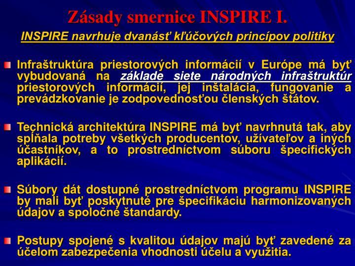 Zásady smernice INSPIRE I.