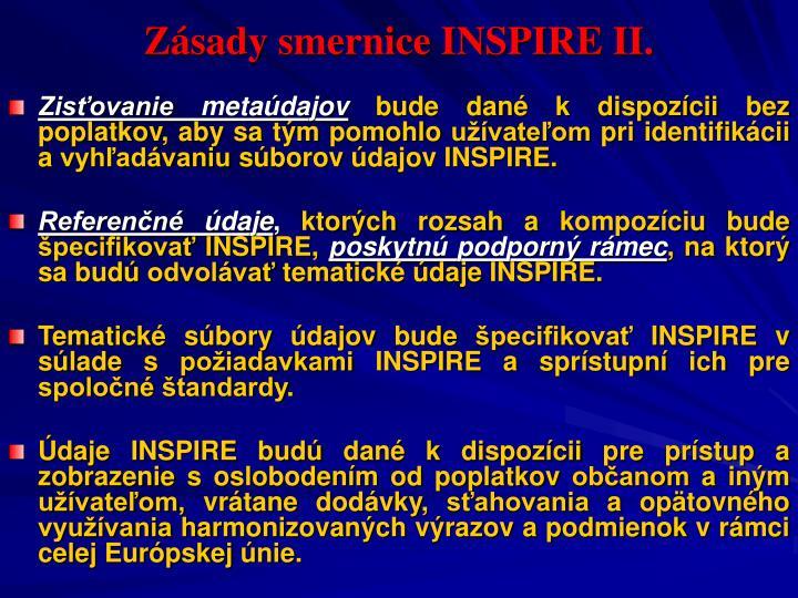 Zásady smernice INSPIRE II.