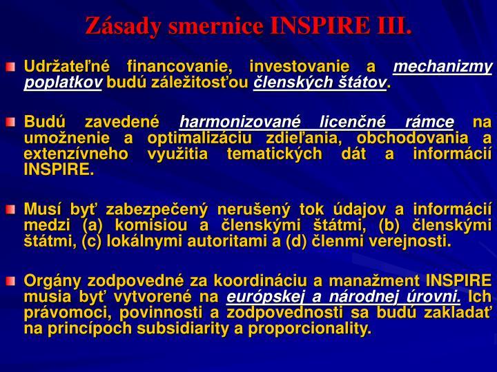 Zásady smernice INSPIRE III.