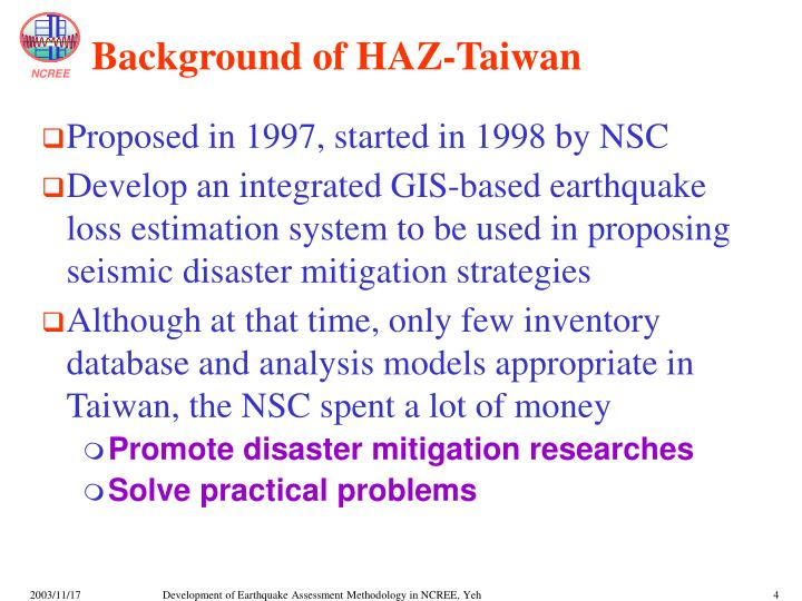 Background of HAZ-Taiwan