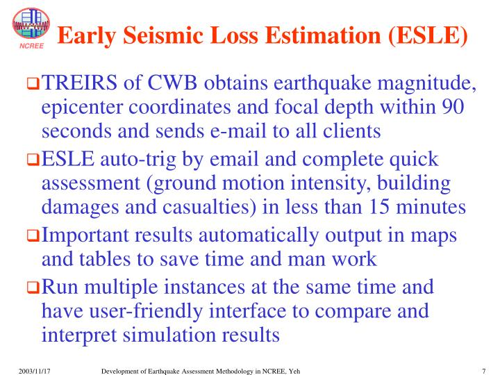 Early Seismic Loss Estimation (ESLE)