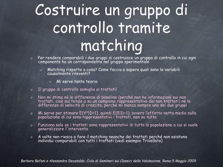 Costruire un gruppo di controllo tramite matching