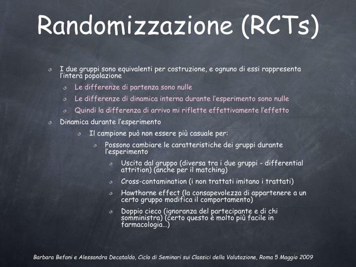 Randomizzazione (RCTs)