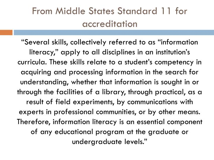 From Middle States Standard 11 for accreditation