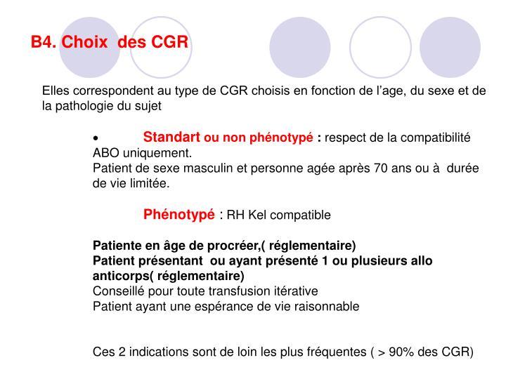 B4. Choix  des CGR