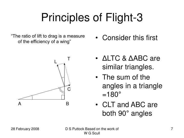 """The ratio of lift to drag is a measure of the efficiency of a wing"""