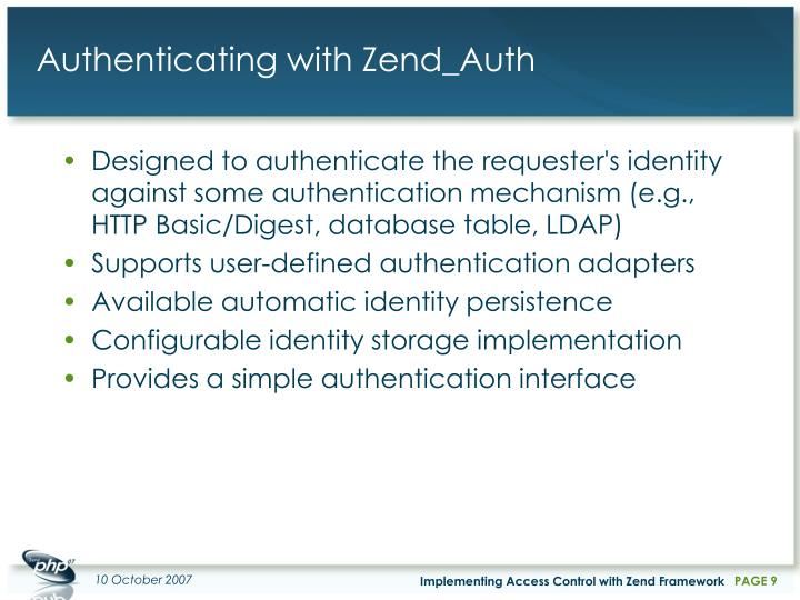 Authenticating with Zend_Auth