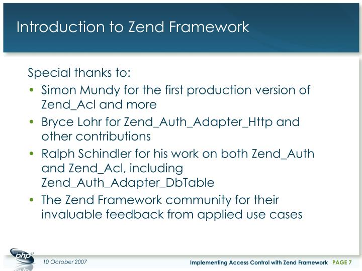 Introduction to Zend Framework