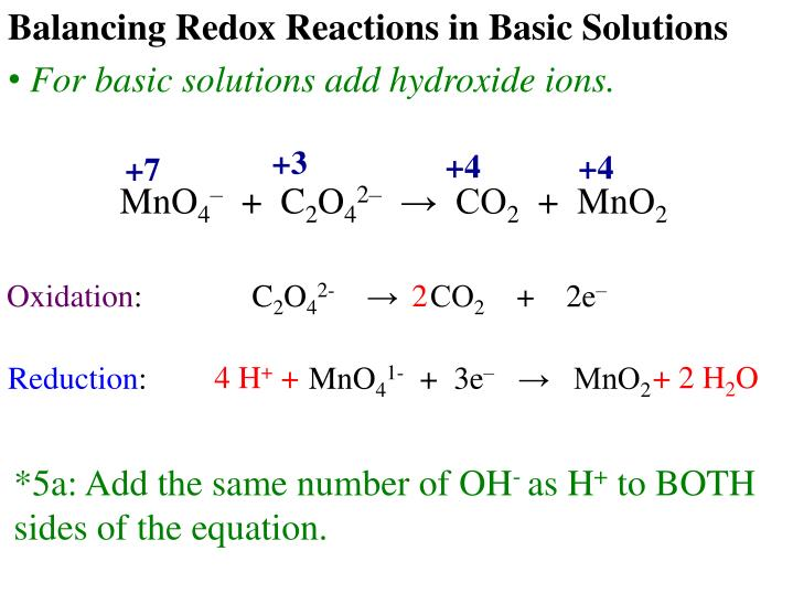 Balancing Redox Reactions in Basic Solutions