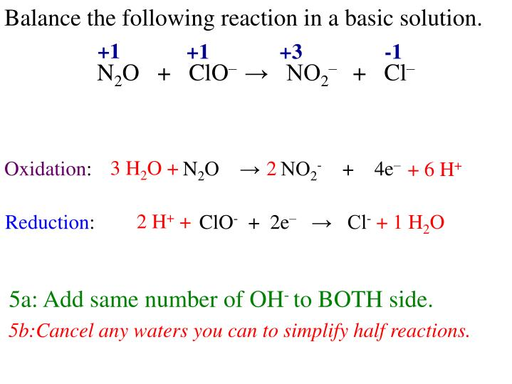Balance the following reaction in a basic solution.
