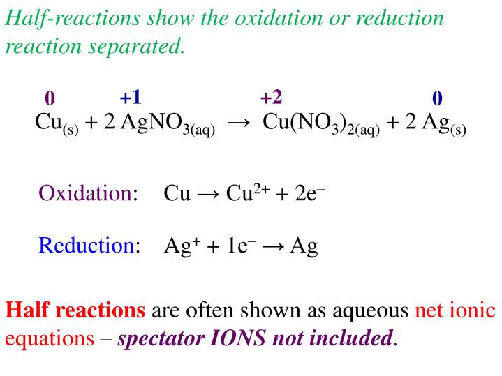 Half-reactions show the oxidation or reduction reaction separated.
