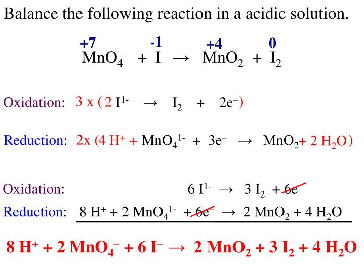 Balance the following reaction in a acidic solution.