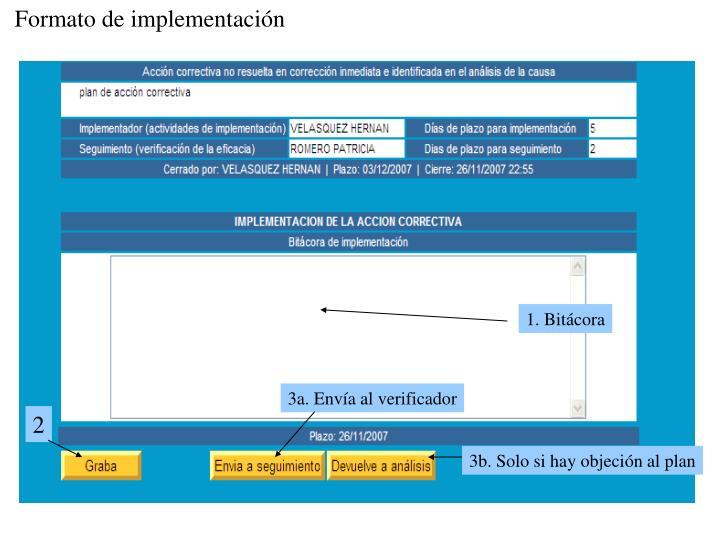 Formato de implementación