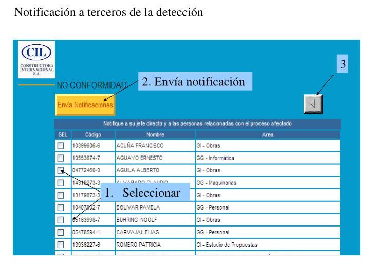 Notificación a terceros de la detección