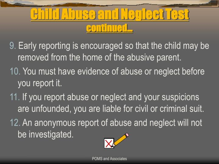 Child Abuse and Neglect Test