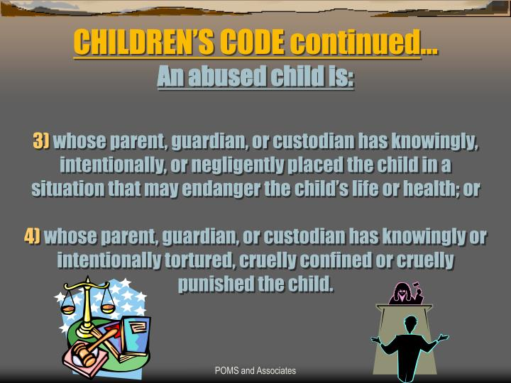 CHILDREN'S CODE continued