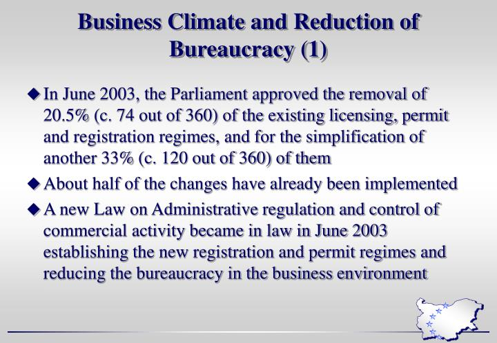 Business Climate and Reduction of