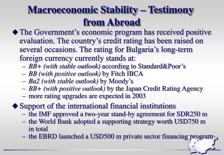 Macroeconomic Stability – Testimony