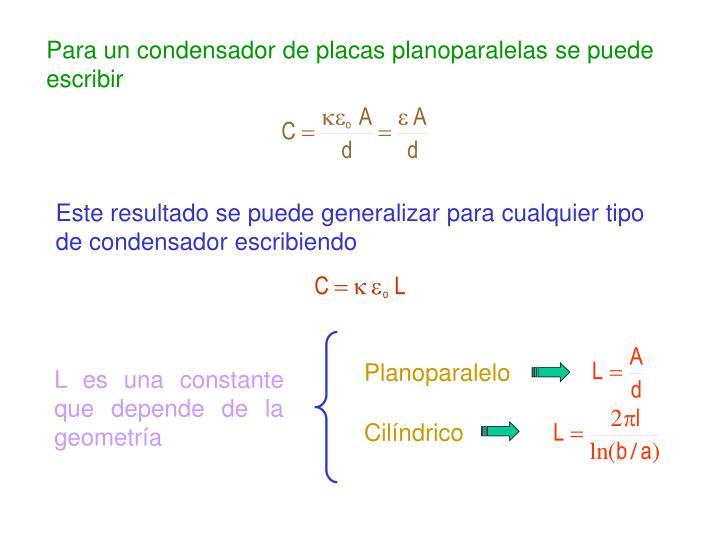 Para un condensador de placas planoparalelas se puede escribir