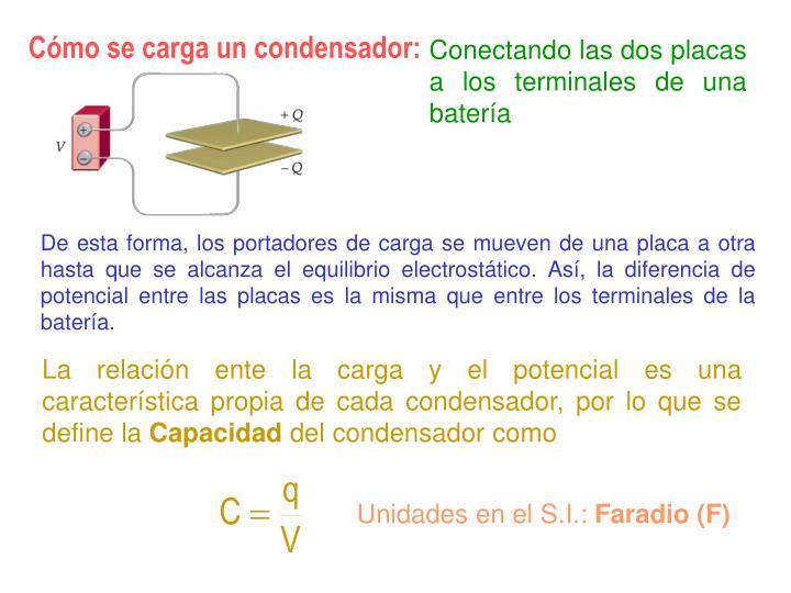 Cómo se carga un condensador: