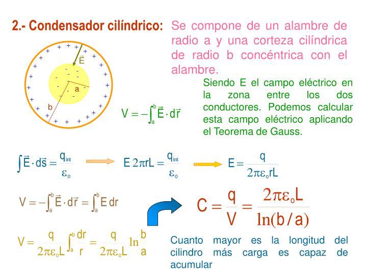 2.- Condensador cilíndrico: