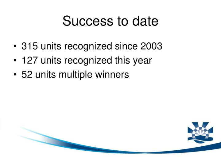 Success to date