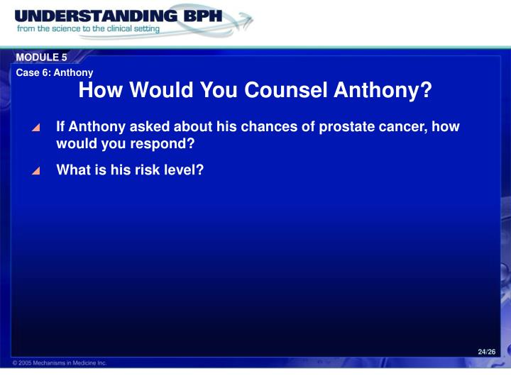 How Would You Counsel Anthony?