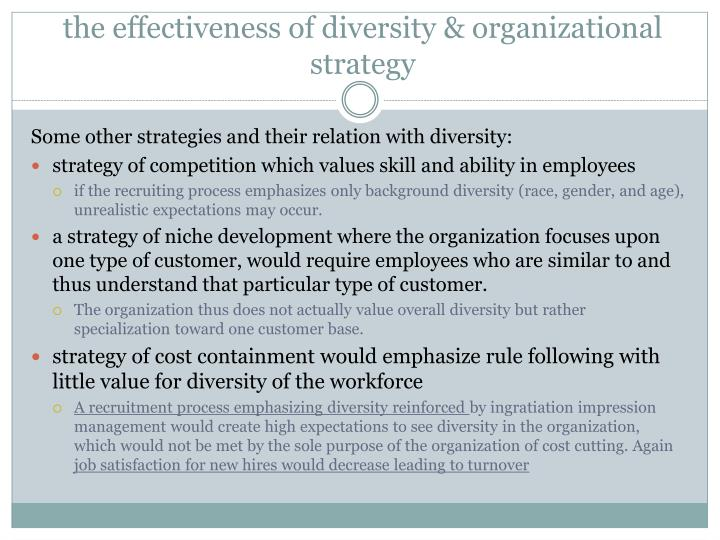 the effectiveness of diversity & organizational strategy