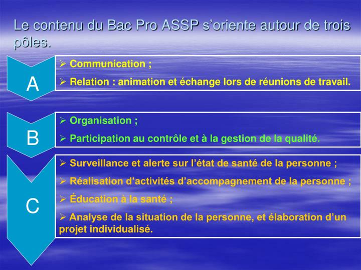 Le contenu du Bac Pro ASSP s'oriente autour de trois pôles.