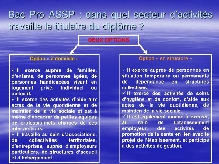 Bac Pro ASSP : dans quel secteur d'activités travaille le titulaire du diplôme ?