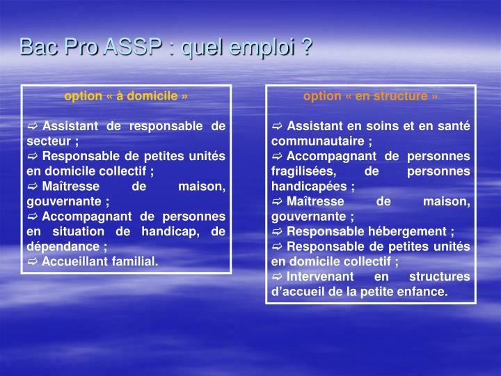 Bac Pro ASSP : quel emploi ?
