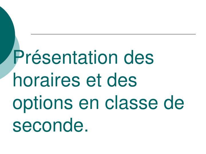 Présentation des horaires et des options en classe de seconde.