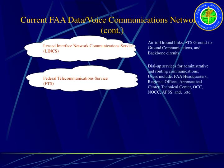 Current FAA Data/Voice Communications Networks (cont.)