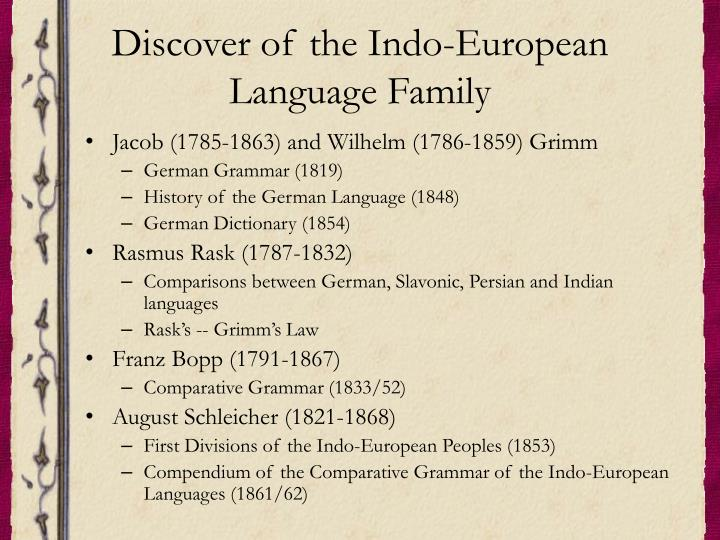 Discover of the indo european language family