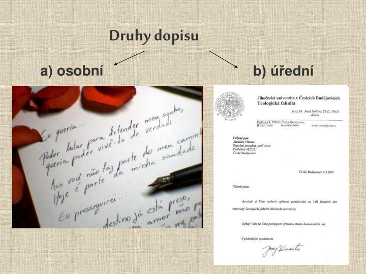 Druhy dopisu