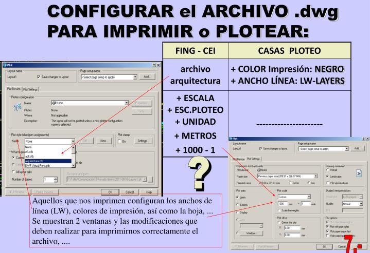 CONFIGURAR el ARCHIVO .dwg