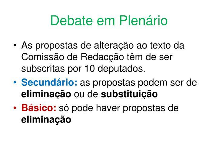 Debate em Plenário