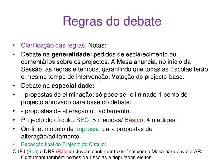 Regras do debate