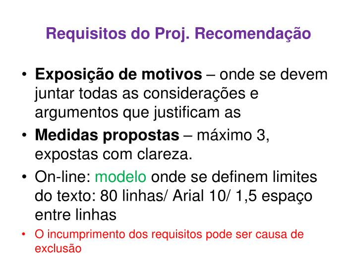 Requisitos do Proj. Recomendação