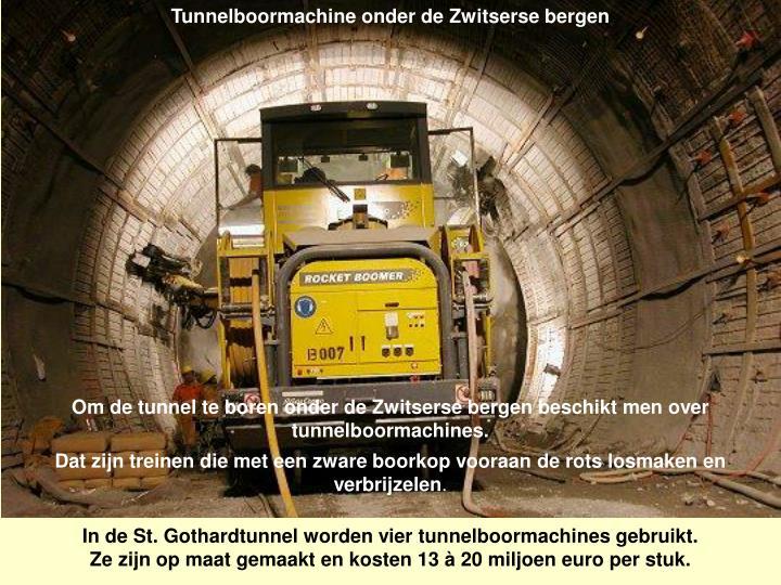 Tunnelboormachine onder de Zwitserse bergen