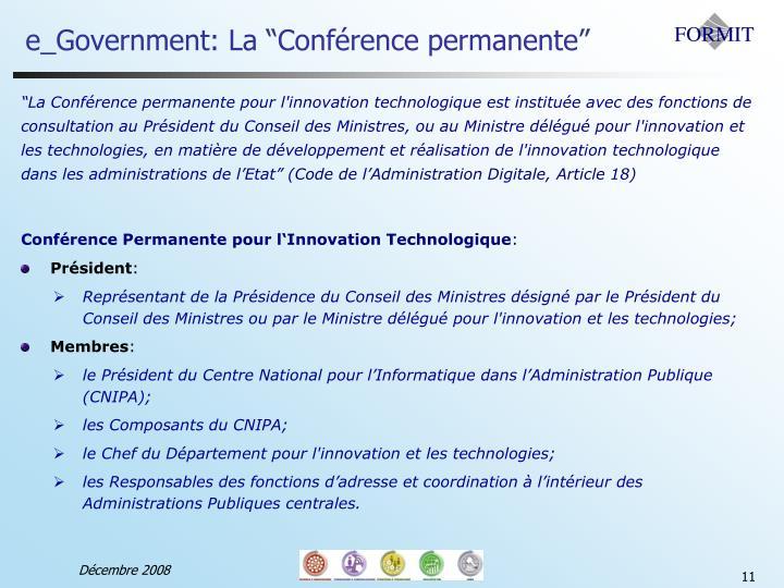 """e_Government: La """"Conférence permanente"""""""