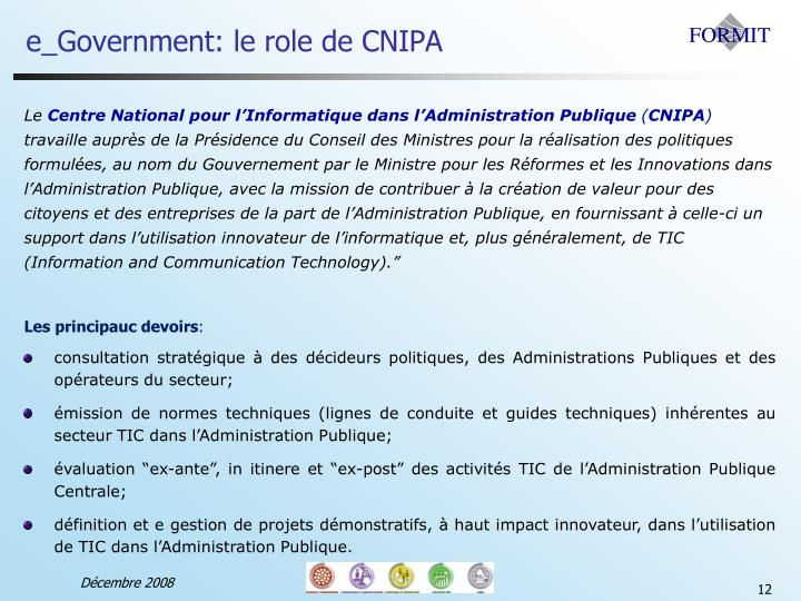 e_Government: le role de CNIPA