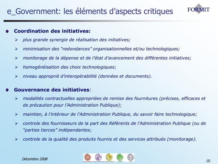 e_Government: les éléments d'aspects critiques