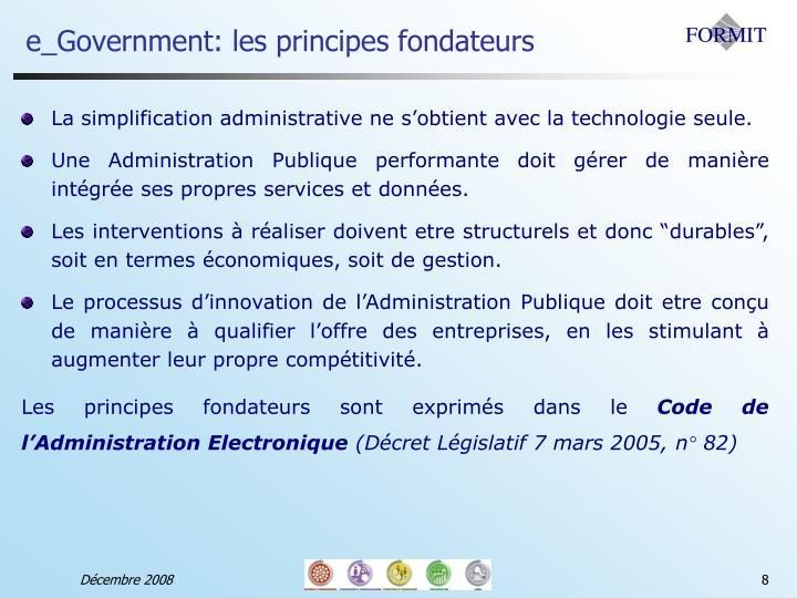 e_Government: les principes fondateurs