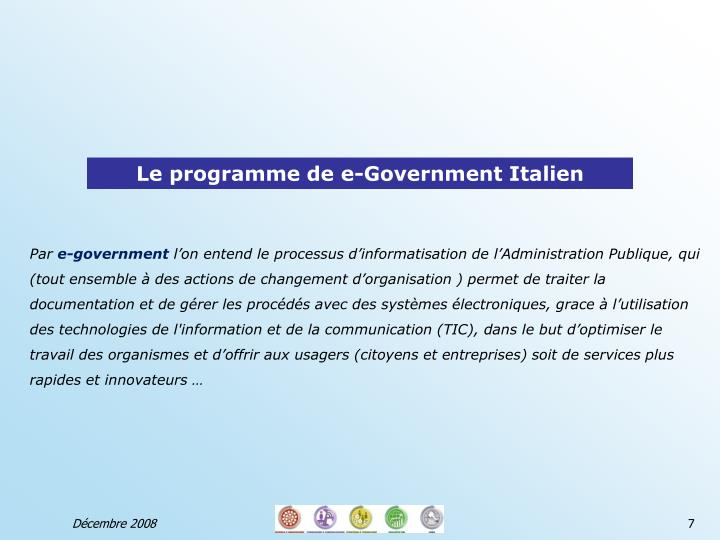 Le programme de e-Government Italien