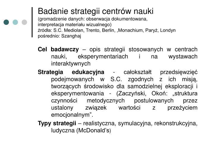 Badanie strategii centrów nauki